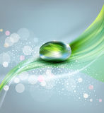 Vector background with a drop of dew and reflection sheet in dew Stock Photo