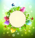Vector background for Easter with a round card for text, eggs, g Stock Image