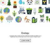 Vector background with ecology flat icons. Vector background with place for text and with ecology flat icons illustration vector illustration