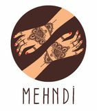 Vector background Element yoga mudra hands with mehendi patterns. Royalty Free Stock Image