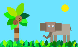 Vector background elephant in the jungle. Nice childish  illustration background elephant in the jungle with place for your options Stock Photos