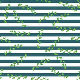 Vector background. Exotic plants on a striped background. Vintage stock illustration