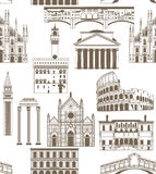 Vector background with famous Italian landmarks. Vector seamless background with famous Italian landmarks Royalty Free Stock Photography