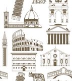 Vector background with famous Italian landmarks Royalty Free Stock Photos