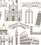 Vector background with famous Italian landmarks. Vector seamless colored background with famous Italian landmarks Royalty Free Stock Photos