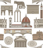 Vector background with famous Italian landmarks. Vector seamless colored background with famous Italian landmarks Royalty Free Stock Photo