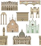 Vector background with famous Italian landmarks Stock Image