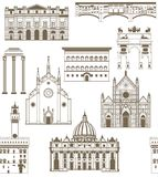 Vector background with famous Italian landmarks Stock Photography