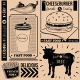 Vector background with fast food symbols. Menu pattern. Vector Illustration with cheeseburger, french fries, soda, cow and lettering on craft paper background Stock Photos