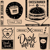 Vector background with fast food symbols. Menu pattern. Vector Illustration with cheeseburger, french fries, soda and lettering on craft paper background Stock Photos