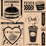 Vector background with fast food symbols. Menu pattern. Vector Illustration with cheeseburger, french fries, soda and lettering on craft paper background Stock Image