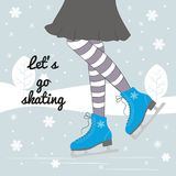 Vector background with feet in figure skates. Vector background with feet in figure skates on the winter background with text `Let`s go skating Stock Photography