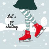 Vector background with feet in figure skates on the winter backg. Round with text `Let`s go skating Royalty Free Stock Images