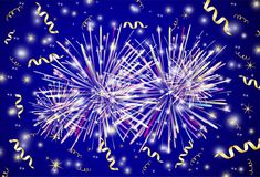 Background from the fireworks and gold ribbons. Vector background from the fireworks and gold ribbons Royalty Free Stock Images