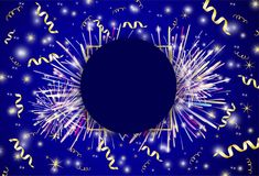 Background from the fireworks and gold ribbons. Vector background from the fireworks and gold ribbons Stock Photo