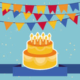Vector background with flags and birthday cake Royalty Free Stock Image