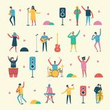 Vector background in a flat style of musicians Royalty Free Stock Photos