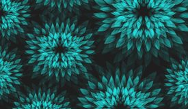 Vector Background with Abstract Floral Motiv. Turquoise Flowers on Dark Background. Vector Background with Floral Motiv. Turquoise Flowers on Dark Background Royalty Free Stock Images