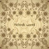 Vector background with floral ornament in indian style. Mehndi ornamental design Stock Photography