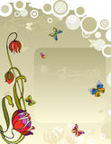 Vector Background Flower Butterfly. Background with a place for the text, a flower, butterflies and circles Stock Photo
