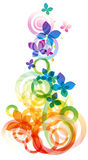 Vector background with flowers. Vector rainbow colored background with flowers for design royalty free illustration