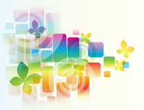 Vector background with flowers. Vector rainbow colored background with flowers for design vector illustration