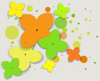 Vector background with flowers. Abstract background with circles and flowers stock image