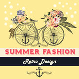 Vector background with flowers and bike Tshirt print with roses Royalty Free Stock Photo