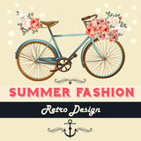 Vector background with flowers and bike Tshirt print with roses Stock Images