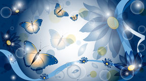 Vector background with flowers. And butterflies royalty free illustration