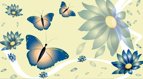Vector background with flowers. And butterflies stock photography