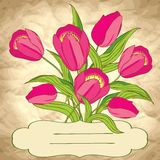 Vector background with flowers on craft paper Royalty Free Stock Photo