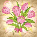 Vector background with flowers on craft paper Stock Photo