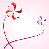 Vector background with flowers. Scarlet heart Royalty Free Stock Images