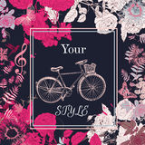 Vector background with flowers Tshirt print with roses Stock Images