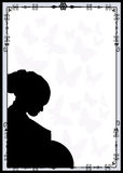 Vector background - frame. Silhouette of pregnant woman. Vector background - frame Stock Image