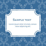 Vector background with frame and celtic ornament. Template for menu, gift card or packing. Pattern in blue colors Royalty Free Stock Photography