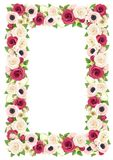 Vector frame with red, pink and white flowers. Royalty Free Stock Photos
