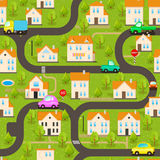 Vector Background. Funny Wallpaper: Small Town. Seamless Vector Background. Funny Wallpaper: Funny Cars on the Streets in the Small Town stock illustration