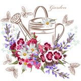 Vector background with garden flowers and butterflies Royalty Free Stock Photos