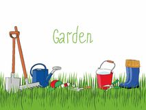Vector background with garden tools and rubber boots on the grass. Royalty Free Stock Photography