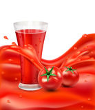 Vector background with a glass of tomato juice, tomato. Red juic Stock Images