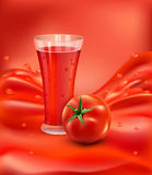 Vector background with a glass of tomato juice, tomato. Red Stock Images