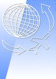 Vector background with globe and airplane for flyer with air or travel topics. Place for own text Vector Illustration