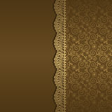 Vector background with gold flowers and swirls. And ribbon vector illustration