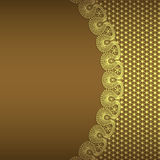 Vector background with gold flowers and swirls. And ribbon stock illustration