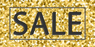 Vector background with gold glitter and inscription sale with a frame. Design banners sale Stock Photo