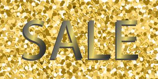 Vector background with gold glitter and inscription sale. Design banners sale Royalty Free Stock Image