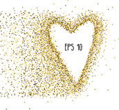 Vector background with gold glitter and a shape of a heart. Design for wedding card, valentine, etc. Vector background with gold glitter and a shape of a heart Royalty Free Stock Photography