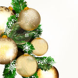 Vector background with golden baubles and Xmas tree green branch Stock Photography